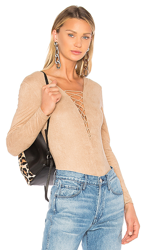 T by Alexander Wang Faux Suede Lace Up Bodysuit in Tan
