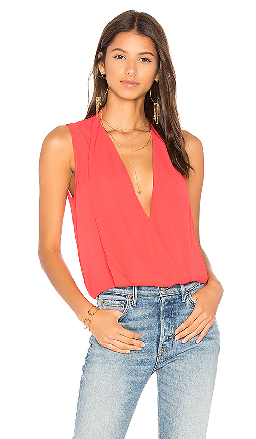 Three Eighty Two Monroe Surplice Top in Red