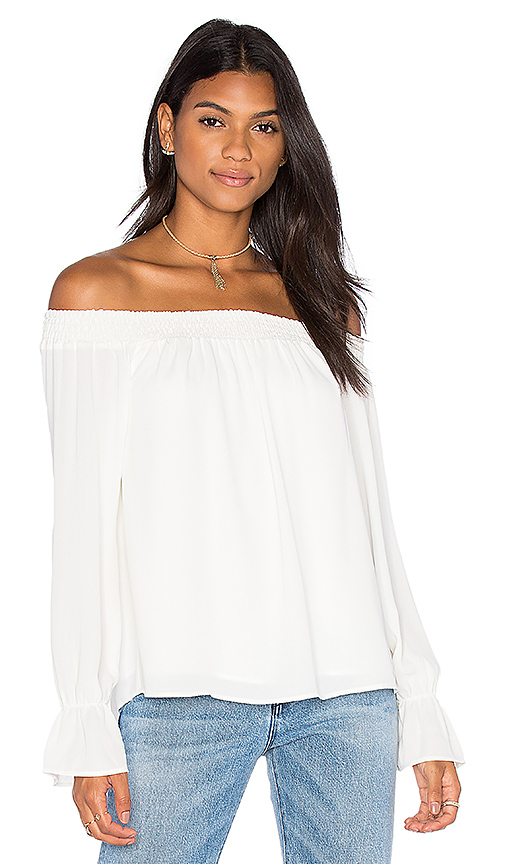 Three Eighty Two Evangeline Off Shoulder Long Sleeve Top in Ivory