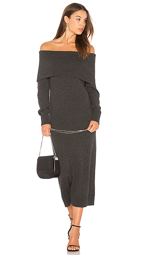 Theory Foldover Sweater Dress in Gray