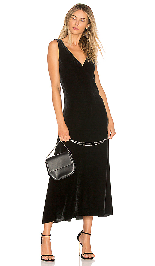Photo of Theory Luxe Velvet Slip Dress in Black - shop Theory dresses sales