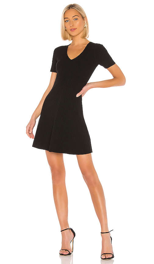 Theory Short-Sleeve Mini Fit-&-Flare Dress In Black