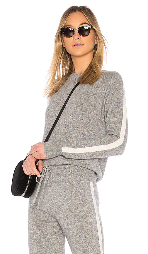 Theory Athletic Stripe Pullover Sweater in Gray. - size L (also in M,S,XS)