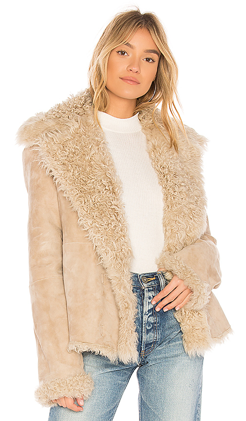 Theory Dyed Shearling Peacoat in Cream