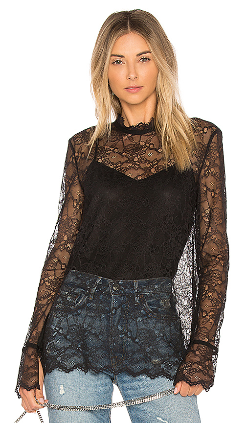 Photo of Theory Long Sleeve Lace Top in Black - shop Theory tops sales