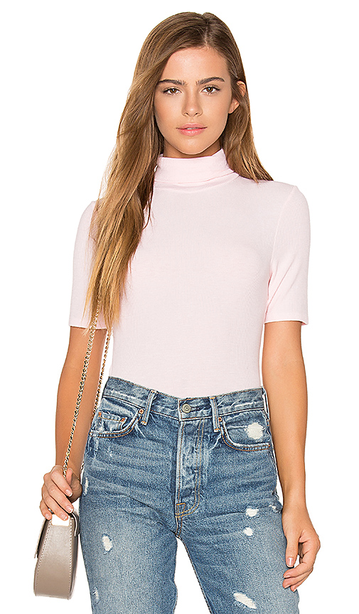 three dots Short Sleeve Turtleneck Top in Pink