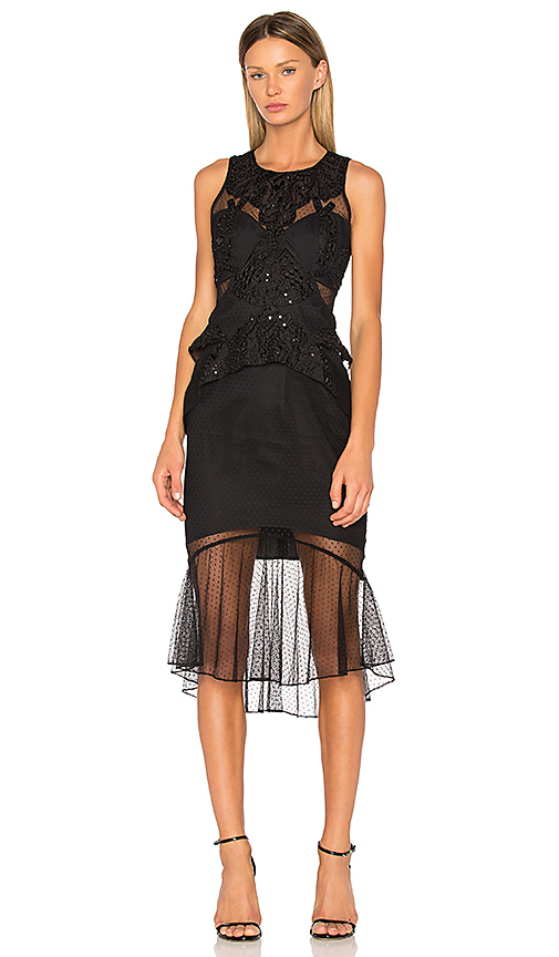 THURLEY Poppy Midi Dress in Black