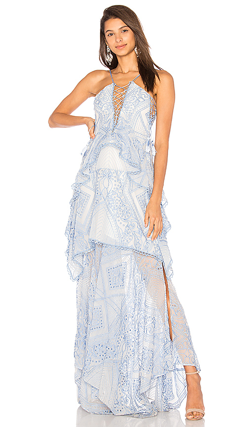 THURLEY Positano Princess Maxi Dress in Blue