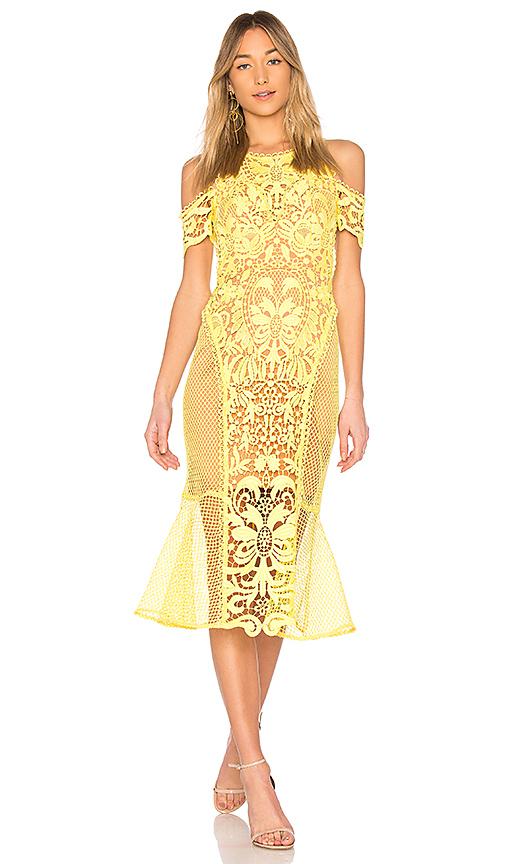 THURLEY Enchanted Garden Midi Dress in Yellow