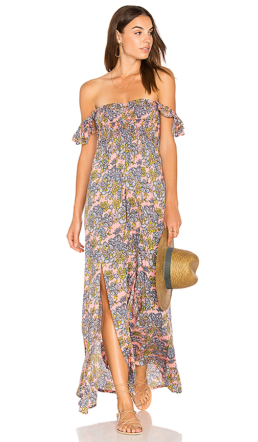 Tiare Hawaii Hollie Off The Shoulder Maxi in Pink.