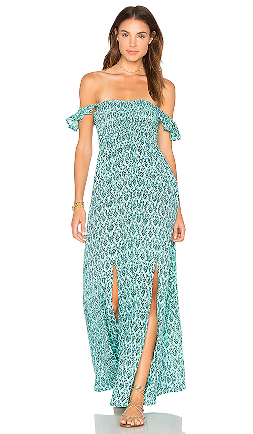 Tiare Hawaii Hollie Off The Shoulder Maxi in Turquoise.