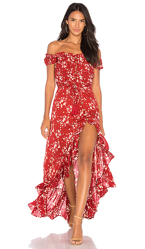 Tiare Hawaii Riviera Long Dress in Red.