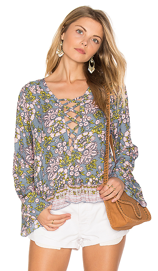 Tiare Hawaii Sunday Lovin Blouse in Green. - size M/L (also in S/M)