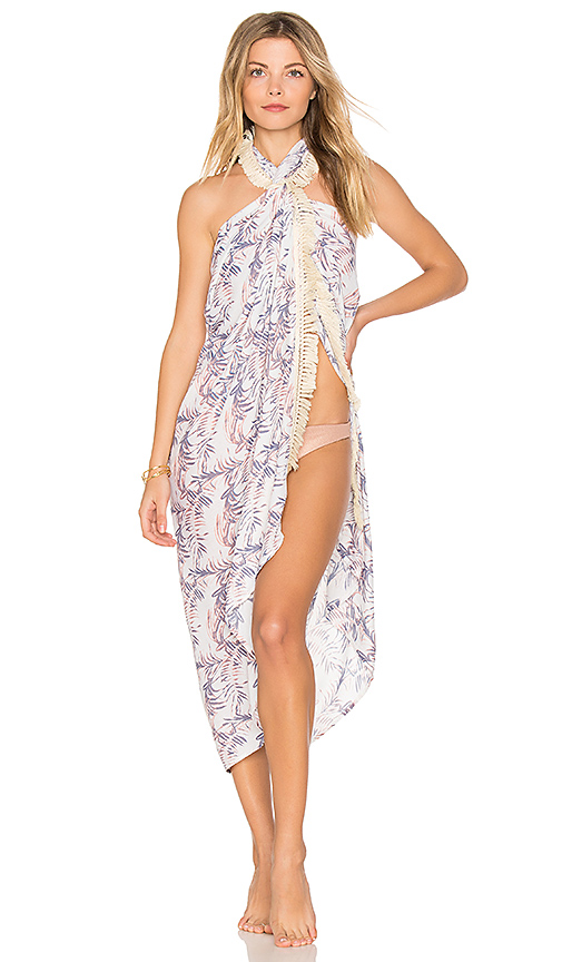 Tiare Hawaii Fringe Sarong in Ivory.