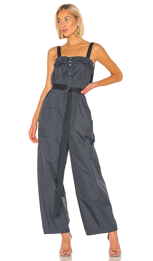 Tibi Suits TIBI REMOVABLE TIE JUMPSUIT IN NAVY.