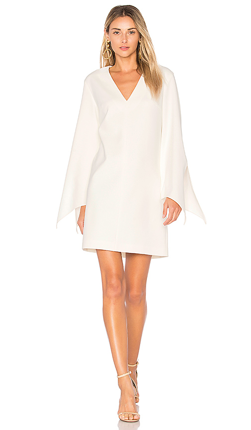Tibi V-Neck Dress With Tie Sleeve Detail in Ivory