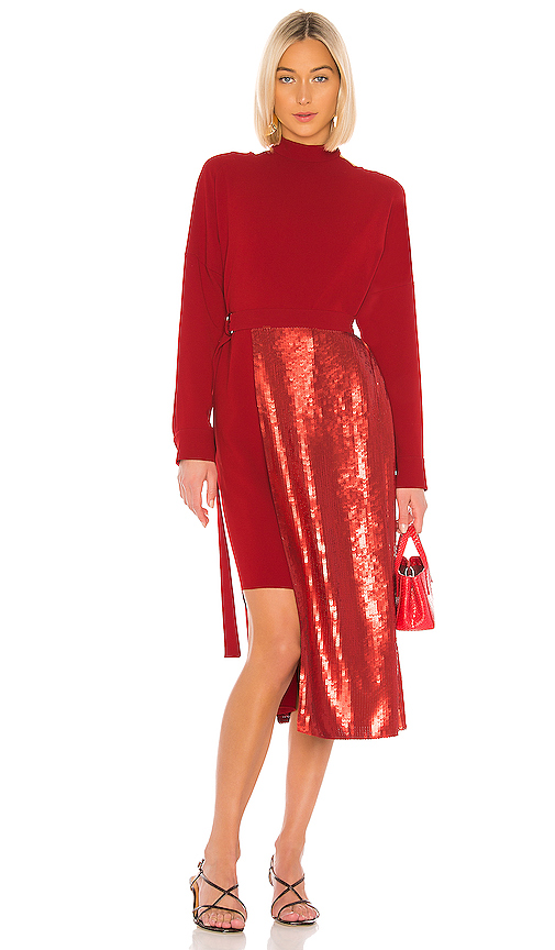 Tibi Dresses TIBI TRIACETATE SEQUIN PANELED DRESS IN RED.