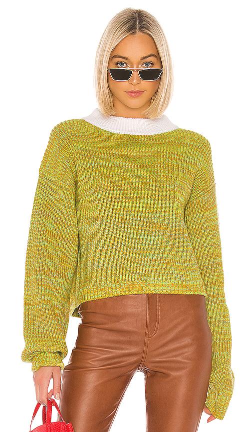 Tibi Wool Tweedy Cropped Crewneck Sweater In Green Multi