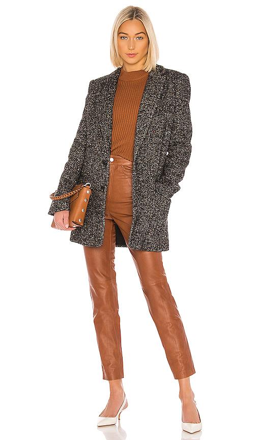Tibi Multi Color Tweed Long Blazer In Black Multi
