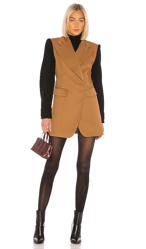Tibi Color-blocked Twill Blazer In Camel & Black Multi