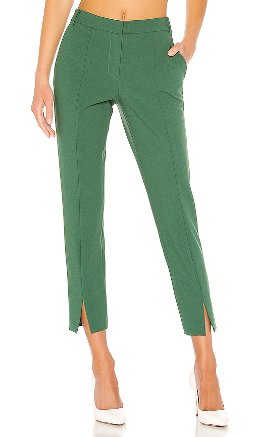 Tibi Menswear Stretch Suiting Cropped Pants In Leaf Green