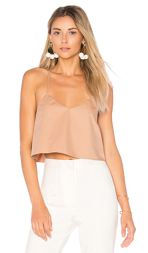 Tibi Cropped Tank With Shirred Back in Brown. - size 4 (also in 6,8)