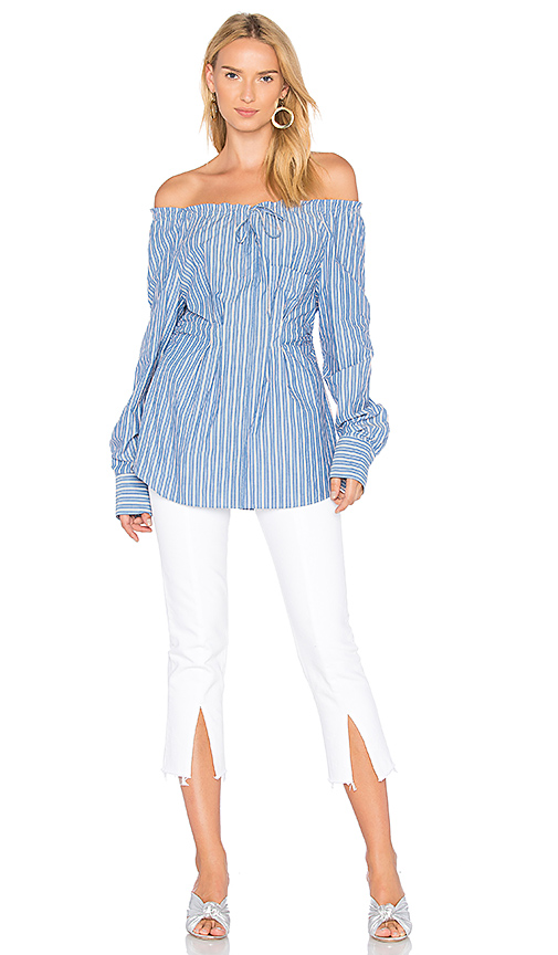 Tibi Shirred Off the Shoulder Top in Blue