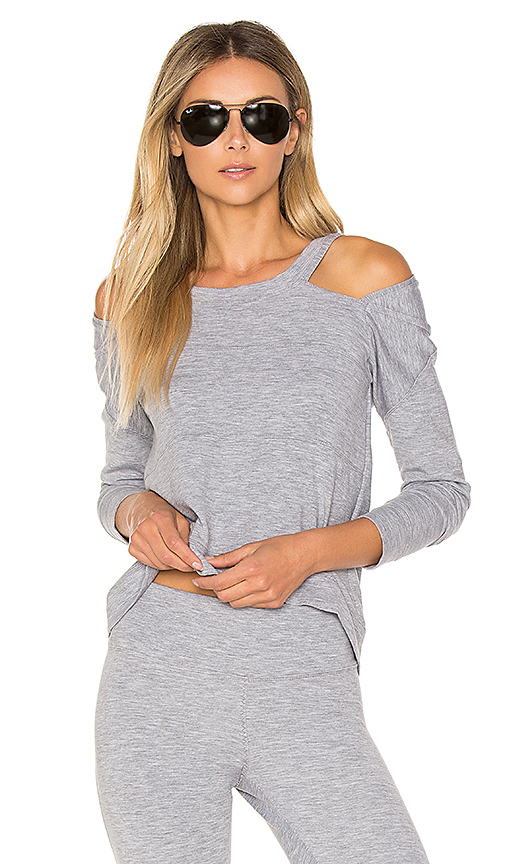 Track & Bliss Cold Shoulder Sweatshirt in Gray