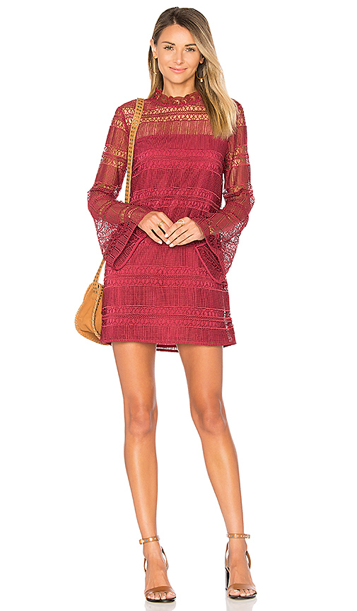 Tularosa Matilda Lace Dress in Fuchsia