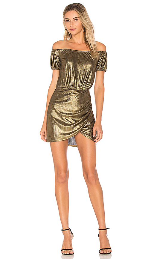 Photo of Tularosa x REVOLVE Anahi Off Shoulder in Metallic Gold - shop Tularosa dresses sales