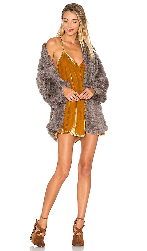 Tularosa x REVOLVE Ricci Faux Fur Jacket in Gray