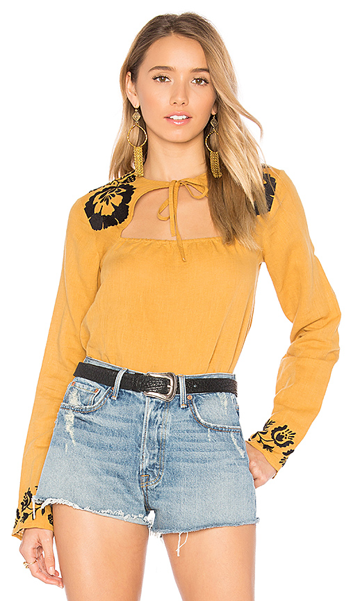 Tularosa Aspen Blouse in Mustard. - size L (also in M,S,XL, XS)