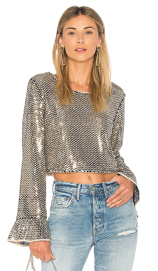Tularosa Lu Sequin Top in Metallic Gold. - size L (also in S,XXS, XS,M,XL)