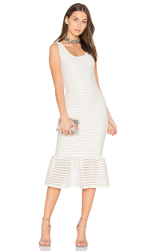 twenty Mesh Crochet Bodycon Dress in Ivory