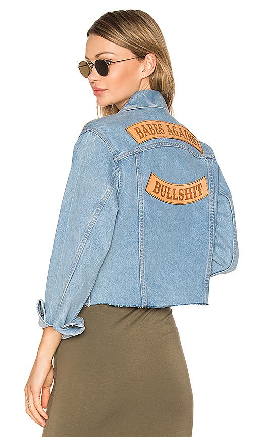 Understated Leather Babes Against Bullshit Chopped Denim Jacket