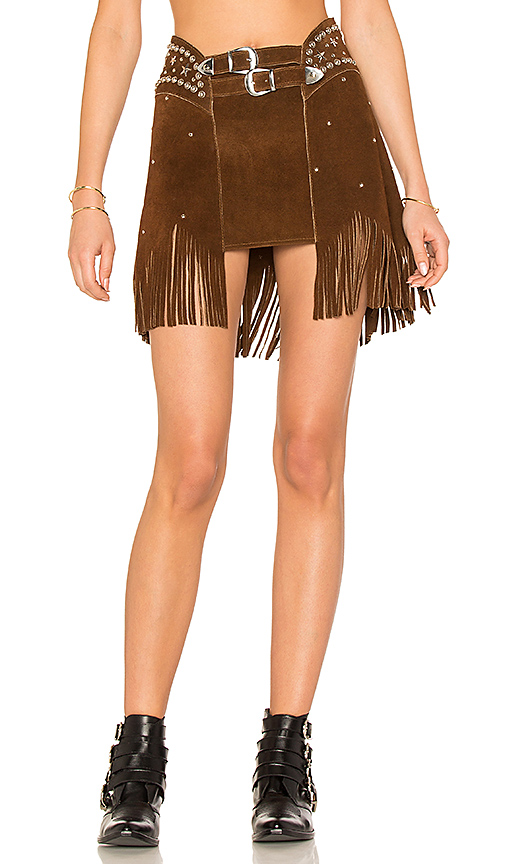 UNDERSTATED LEATHER X REVOLVE PARIS TEXAS STUDDED SKIRT