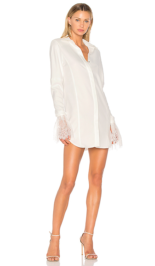 VATANIKA Lace-Trimmed Shirt Dress in White