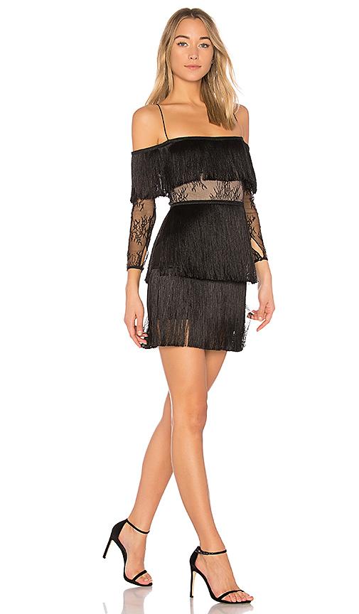 VATANIKA Lace Off the Shoulder Dress in Black