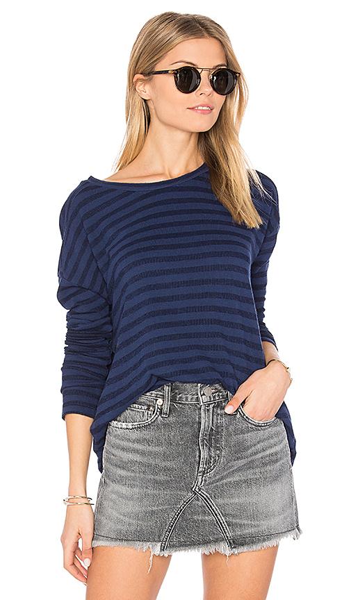 Velvet by Graham & Spencer Ciarda Stripe Sweater in Navy. - size S (also in XS)