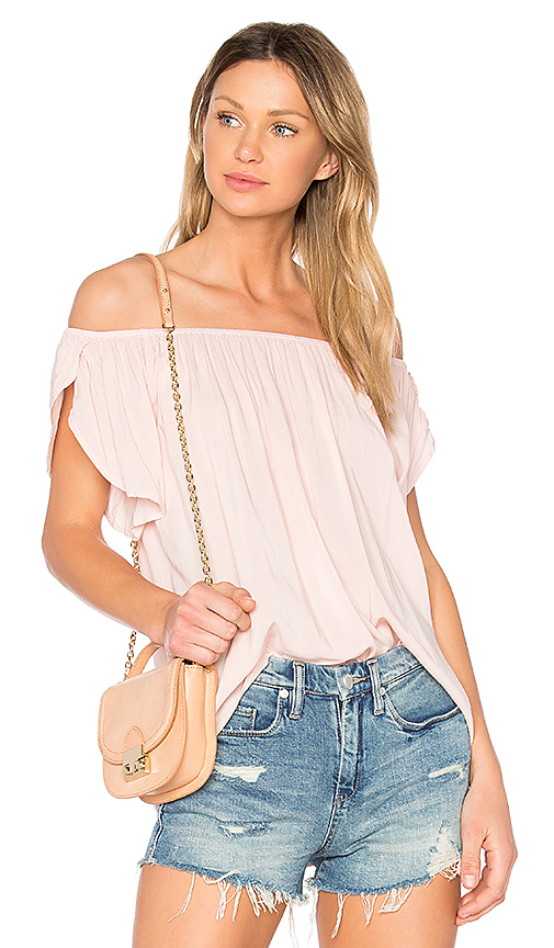 Velvet by Graham & Spencer Caris Off the Shoulder Top in Pink. - size S (also in L,M,XS)