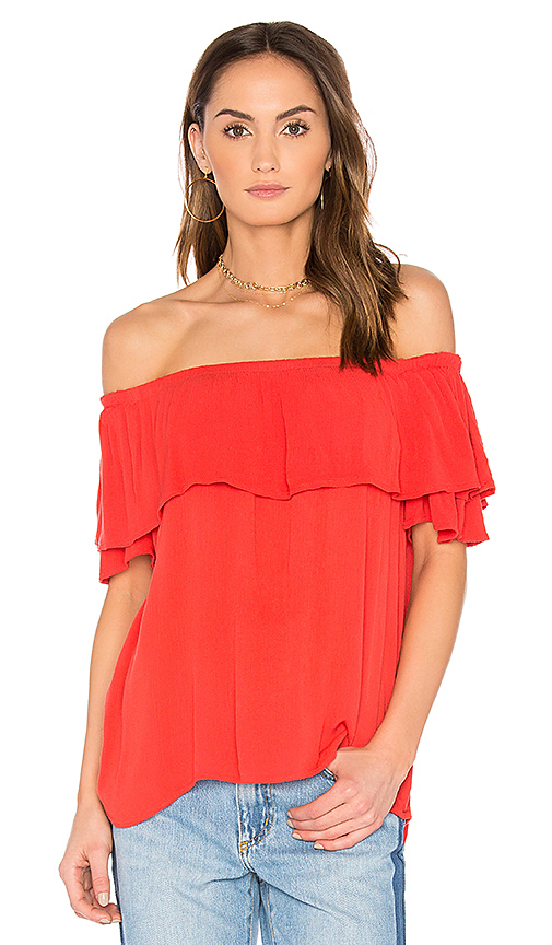 Velvet by Graham & Spencer Luvenia Off Shoulder Top in Red. - size M (also in S,XS)