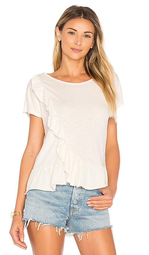 Velvet by Graham & Spencer Pamina Ruffle Tee in White