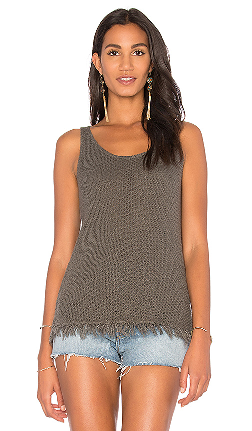 Velvet by Graham & Spencer Amorica Crochet Tank in Green. - size L (also in M,S,XS)