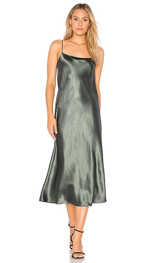 Vince Sleeveless Silk Slip Midi Dress In Gray Modesens
