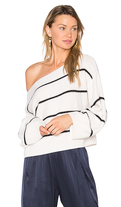 Vince Stripe Cold Shoulder Sweater in Black & White. - size M (also in S,XS)