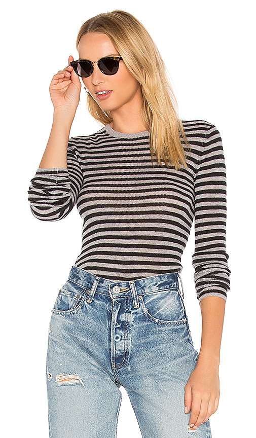 Vince Striped Rib Sweater in Gray. - size L (also in M,S,XS)