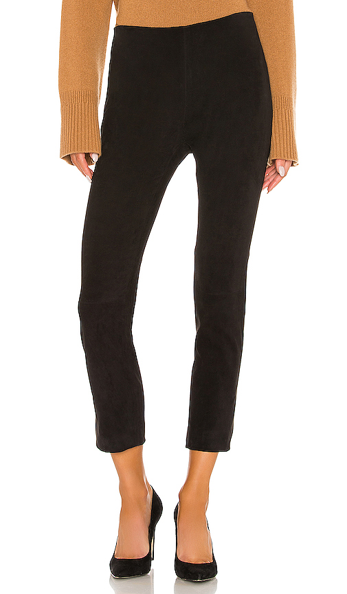 Vince STRETCH SUEDE SPLIT HEM CROP PANT
