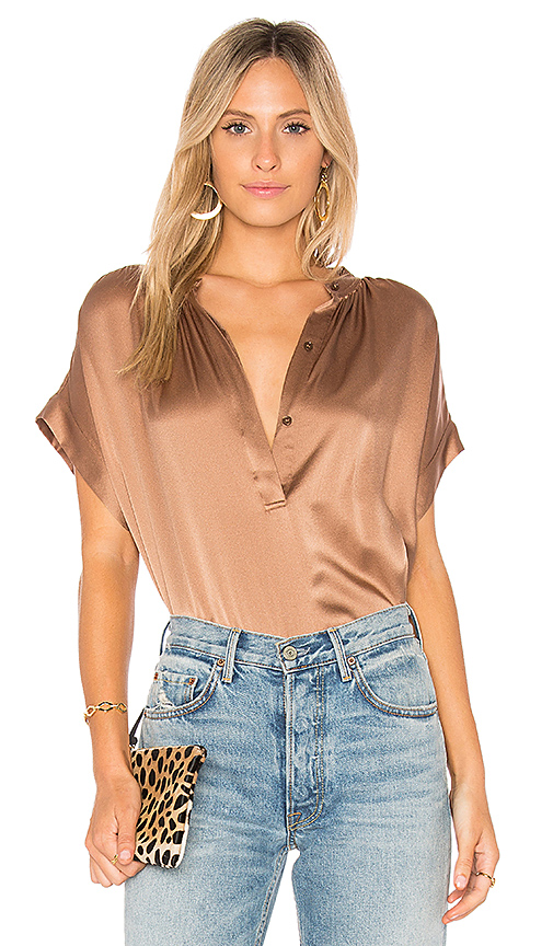 Vince Shirred Neck Blouse in Brown