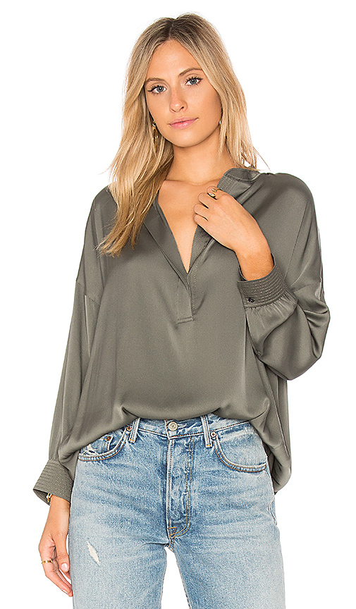 Vince Shirred Drape Blouse in Green