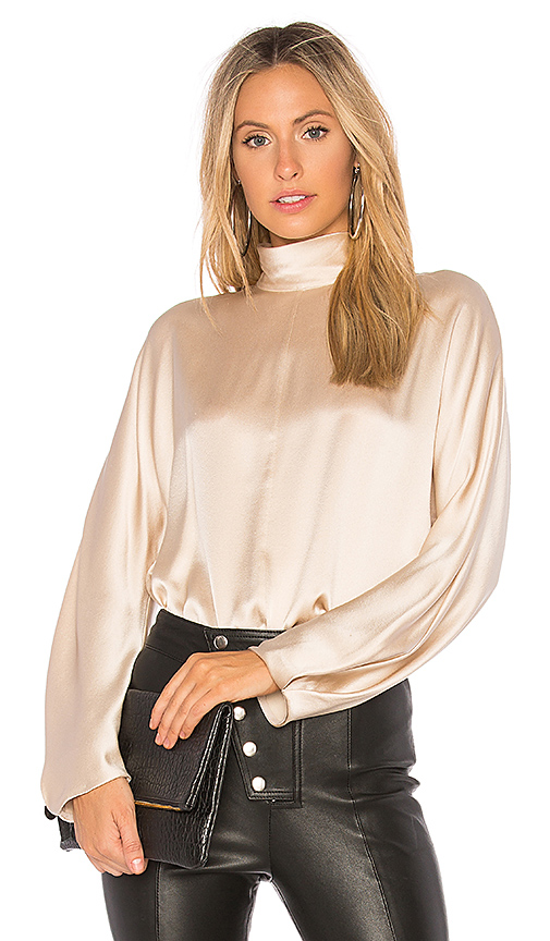 Vince Band Collar Blouse in Cream